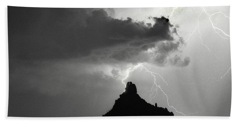 Pinnacle Peak Beach Towel featuring the photograph Lightning Striking Pinnacle Peak Arizona by James BO Insogna