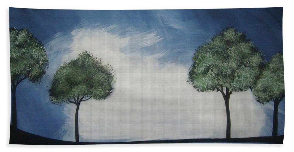 Midnight Beach Towel featuring the painting Lights At Midnight by Katie Slaby