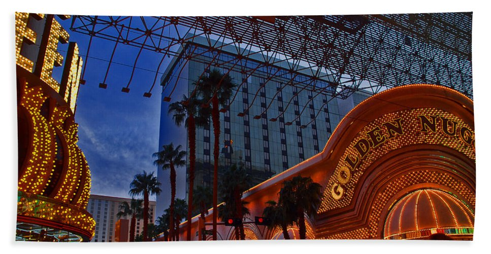 Photography Beach Towel featuring the photograph Lights In Down Town Las Vegas by Susanne Van Hulst
