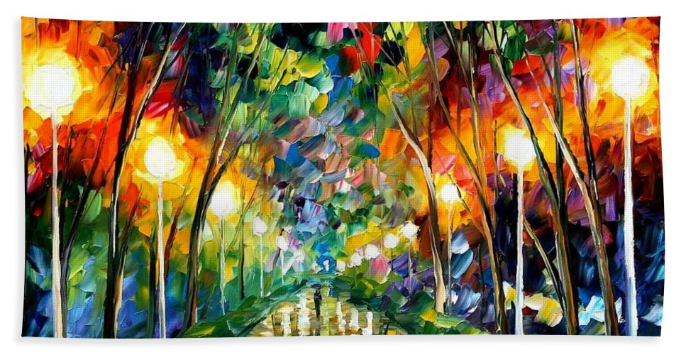 Afremov Beach Towel featuring the painting Lights of Hope by Leonid Afremov