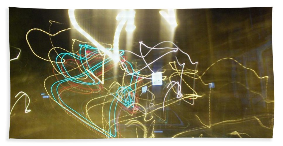 Photograph Beach Towel featuring the photograph Lights That Attack Cars by Thomas Valentine