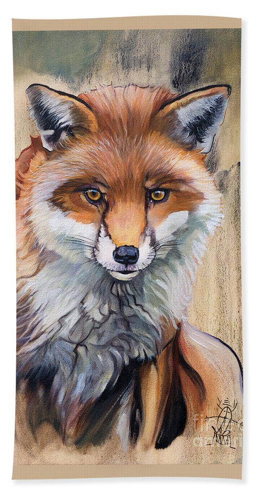Fox Beach Towel featuring the painting Like a Fox by J W Baker