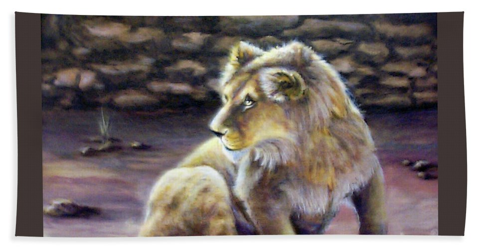 Fuqua - Artwork. Wildlife Beach Towel featuring the painting Like Son by Beverly Fuqua