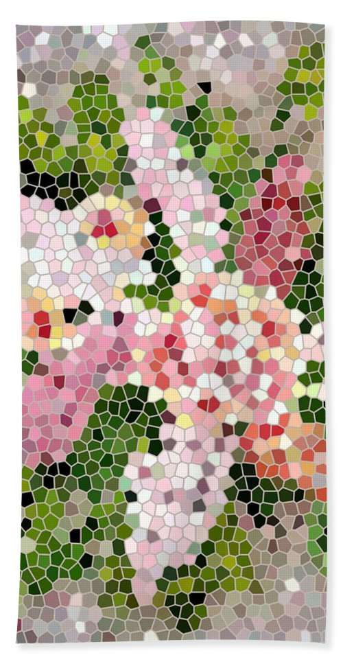 Lilac Bouquet In Stained Glass Beach Towel featuring the digital art Lilac Bouquet II by Barbara Griffin