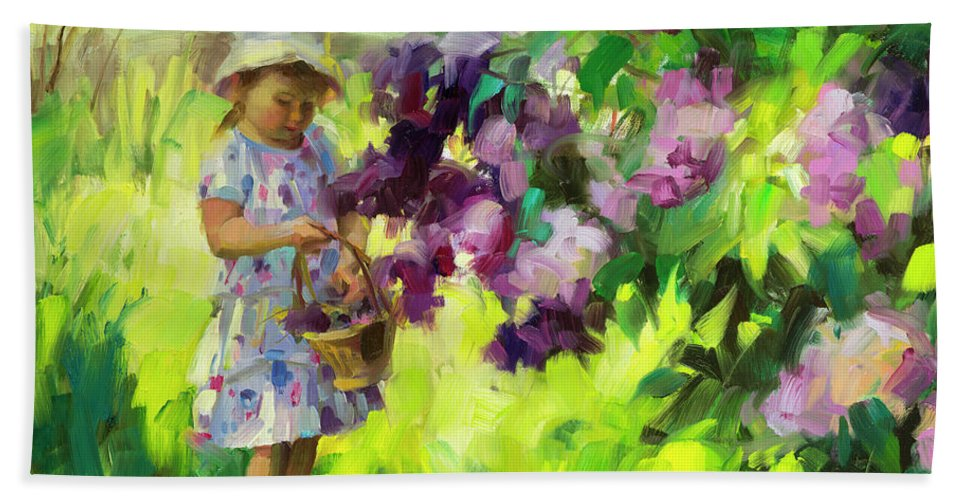 Spring Beach Towel featuring the painting Lilac Festival by Steve Henderson