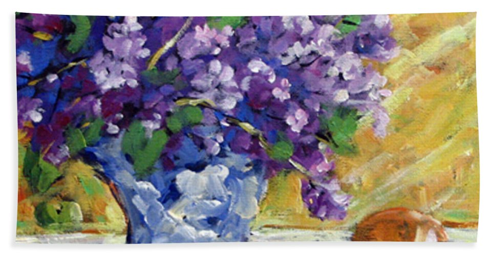 Art Beach Sheet featuring the painting Lilac by Richard T Pranke