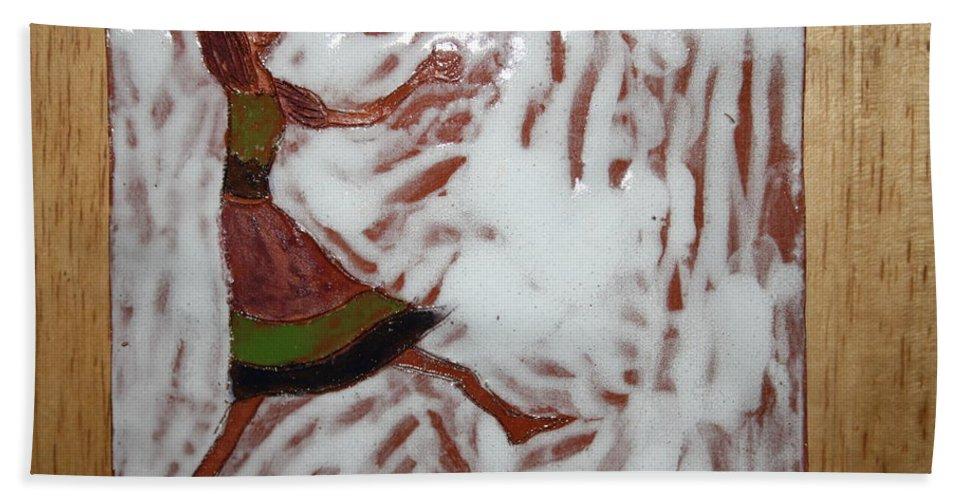 Jesus Beach Towel featuring the ceramic art Lillian - Tile by Gloria Ssali