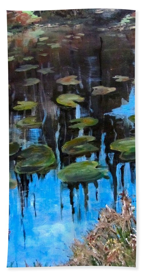 Acrylic Beach Towel featuring the painting Lilly Pads And Reflections by Barbara O'Toole