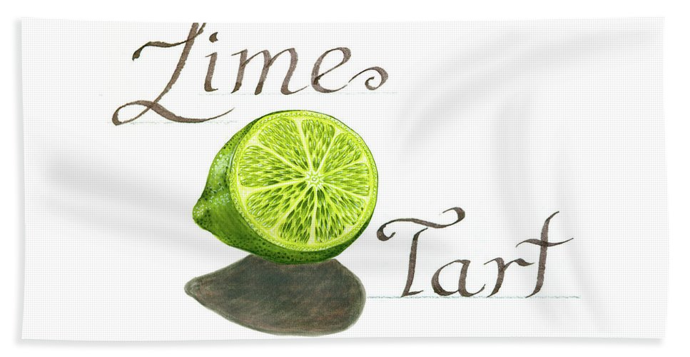 Watercolor Painting Beach Towel featuring the painting Lime Tart by Erin Sparler