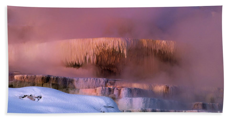 North America Beach Towel featuring the photograph Limestone Artwork Minerva Springs Yellowstone National Park by Dave Welling