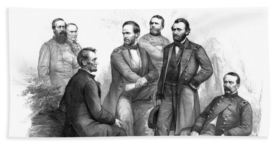 Civil War Beach Towel featuring the drawing Lincoln And His Generals Black And White by War Is Hell Store