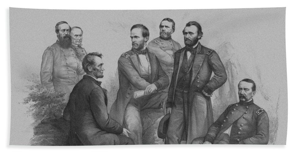 Civil War Beach Towel featuring the drawing Lincoln And His Generals by War Is Hell Store