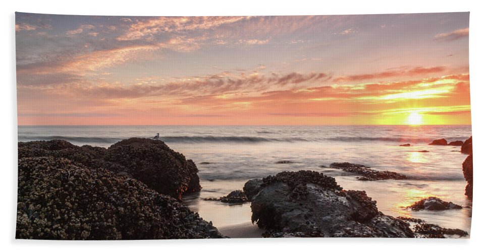 Lincoln City Beach Sunset Oregon Coast Seascape Beach Towel featuring the photograph Lincoln City Beach Sunset - Oregon Coast by Brian Harig
