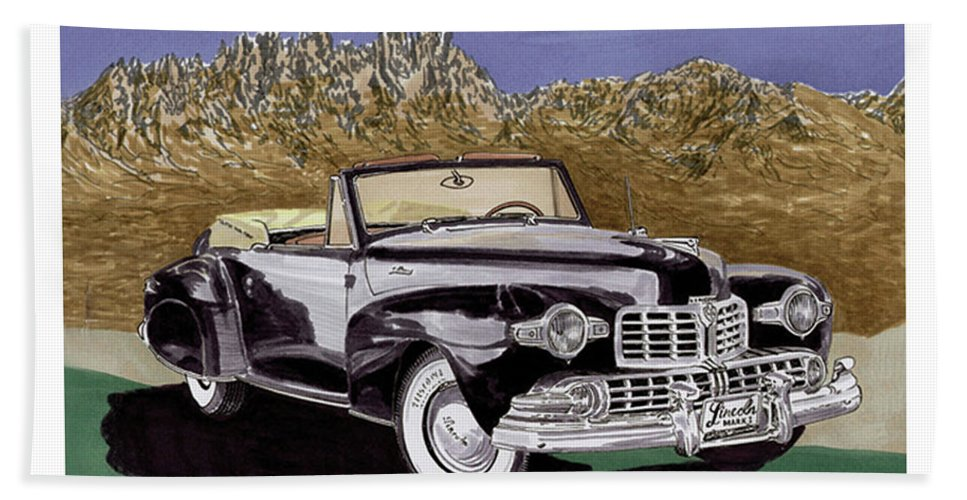 Image Of 1947 Lincoln Continental Convertible In The Organ Mountains-desert Peaks National Monument Beach Towel featuring the painting Lincoln Continental Mk I by Jack Pumphrey