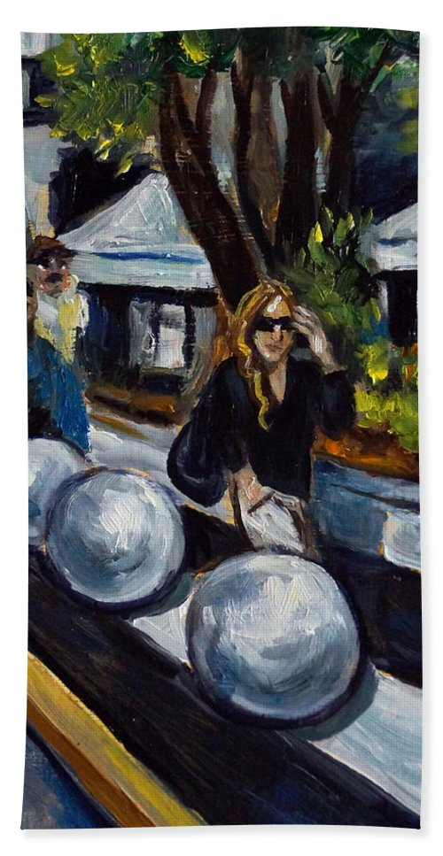 Shopping Beach Towel featuring the painting Lincoln Road by Valerie Vescovi
