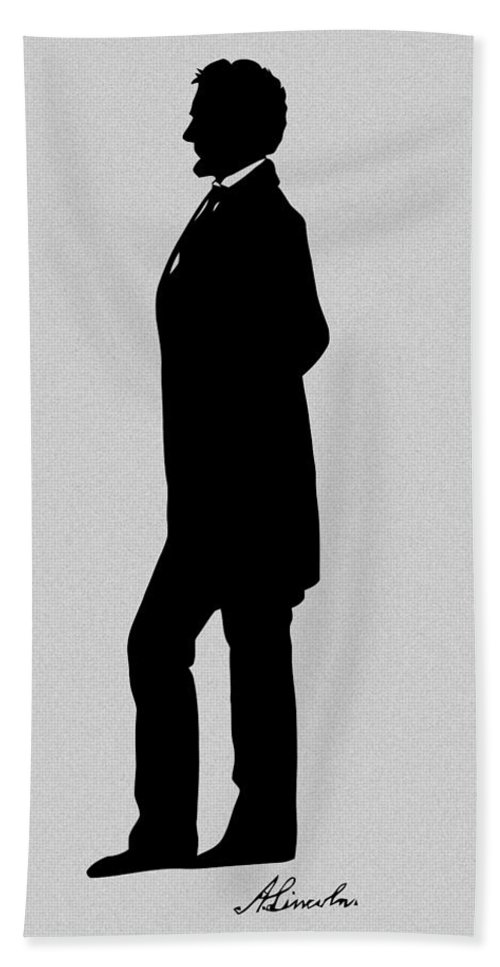 Abraham Lincoln Beach Towel featuring the digital art Lincoln Silhouette And Signature by War Is Hell Store