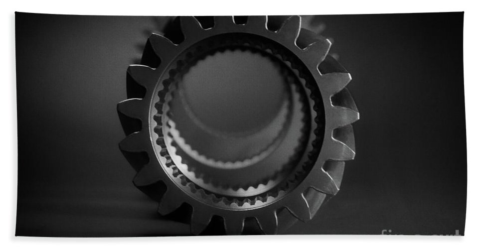 Line Up Beach Towel featuring the photograph Line Up Black And White by Chris Fleming