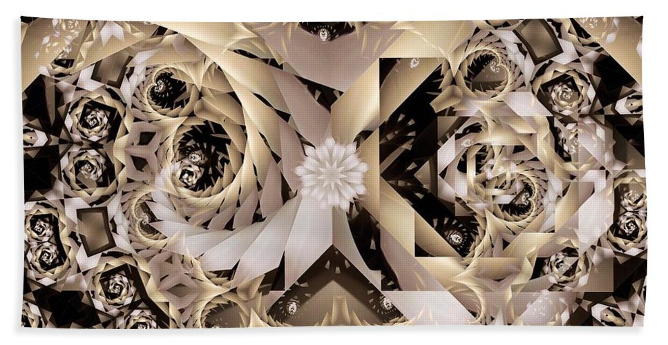 Abstract Beach Towel featuring the digital art Linen and Silk by Ron Bissett