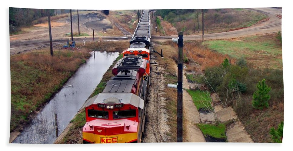 Locomotive Beach Towel featuring the photograph Lines And Curves by Betty Northcutt
