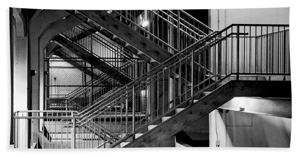 Stairs Beach Towel featuring the photograph Lines by Greg Fortier