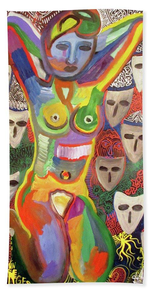 Artak Sakanyan Beach Towel featuring the painting L'inesperee by Artak Sakanyan