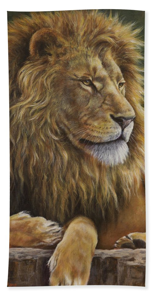 Lion Beach Towel featuring the painting Lion Around by Kim Lockman