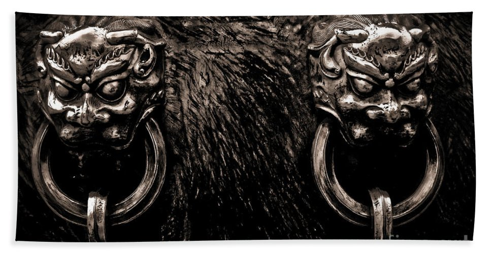 Ancient Beach Towel featuring the photograph Lion Head Handle by Venetta Archer