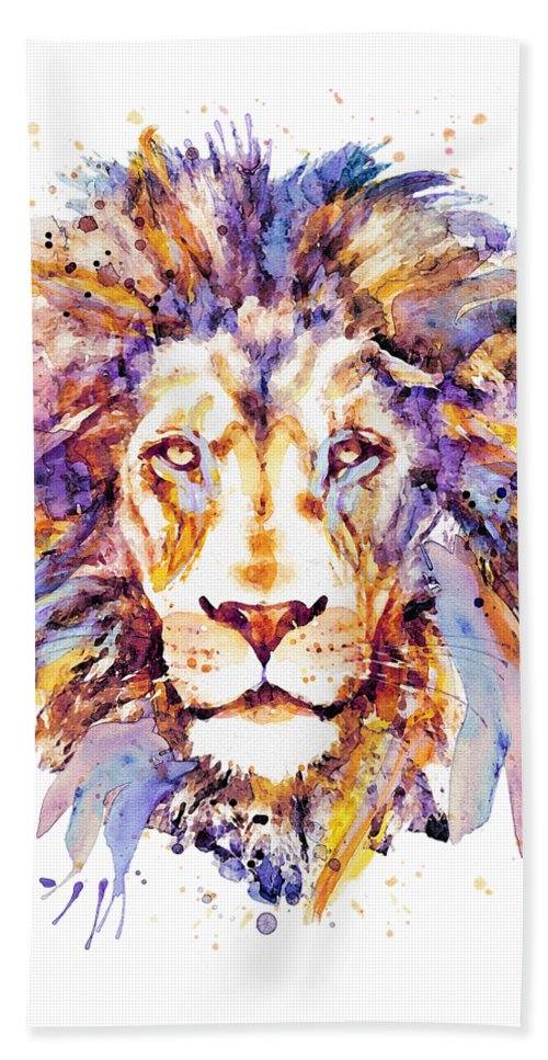 Lion Beach Towel featuring the painting Lion Head by Marian Voicu