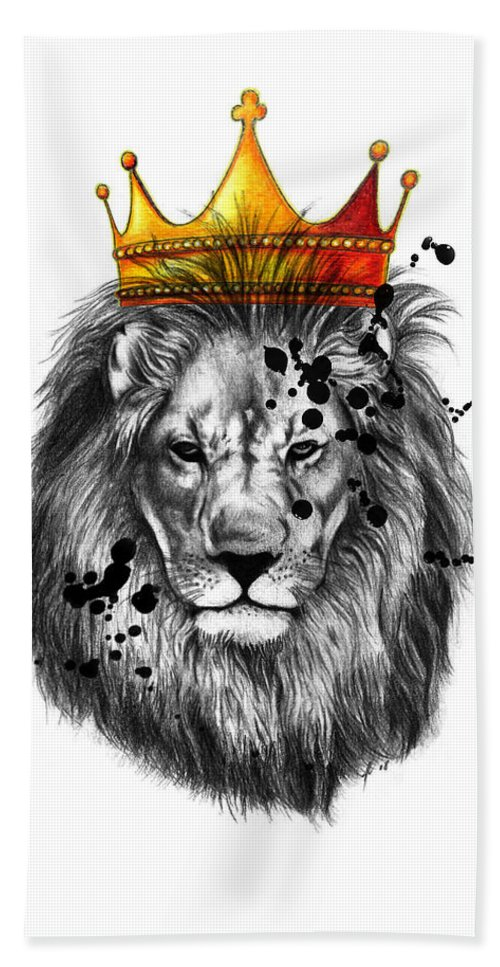Wpap Beach Towel featuring the drawing Lion King by Mark Ashkenazi