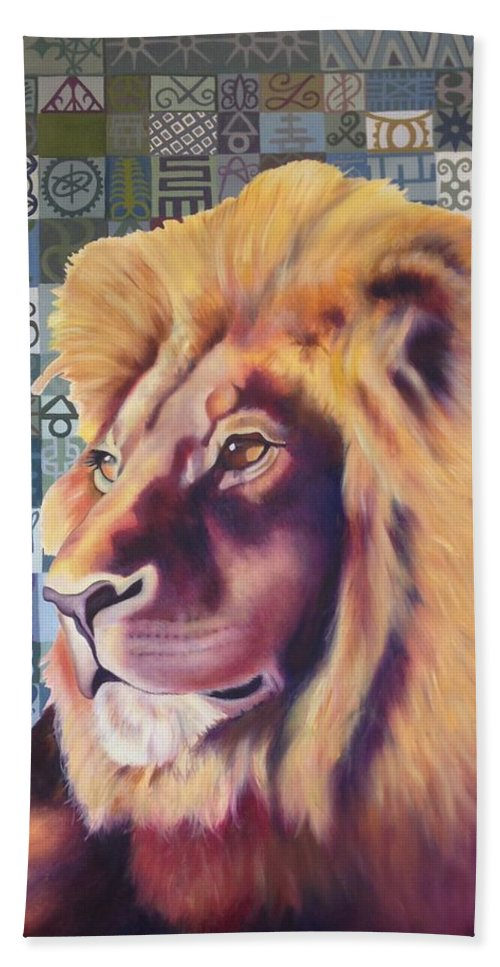 Lion Beach Towel featuring the painting Lion Pride by Carrie Niederberger