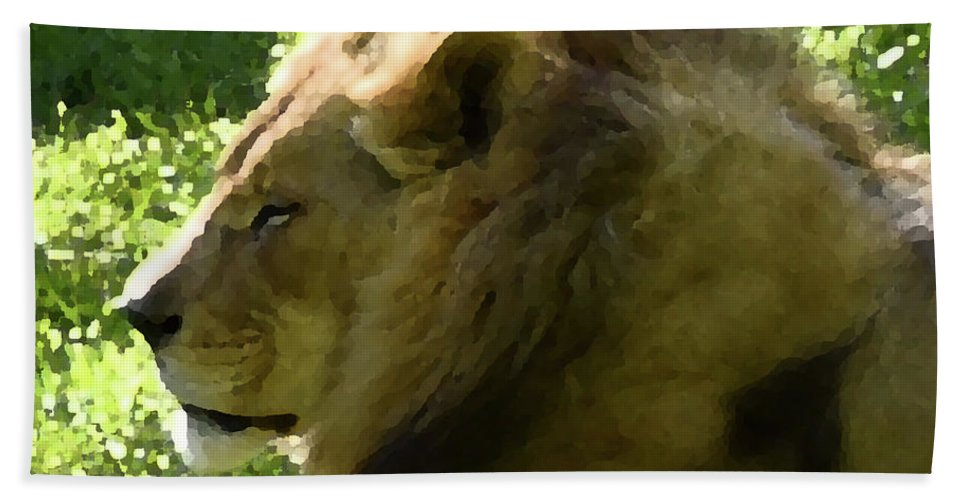 Lion Beach Towel featuring the photograph Lion by Sherri Johnson