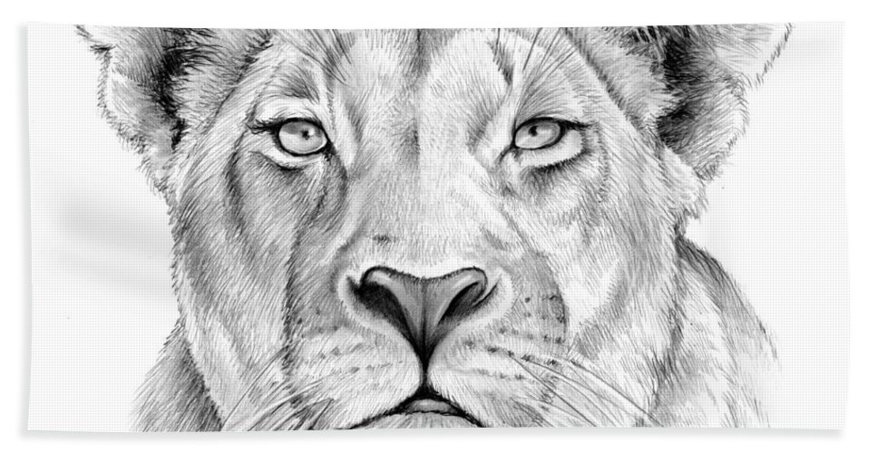 Animal Beach Towel featuring the drawing Lioness by Greg Joens