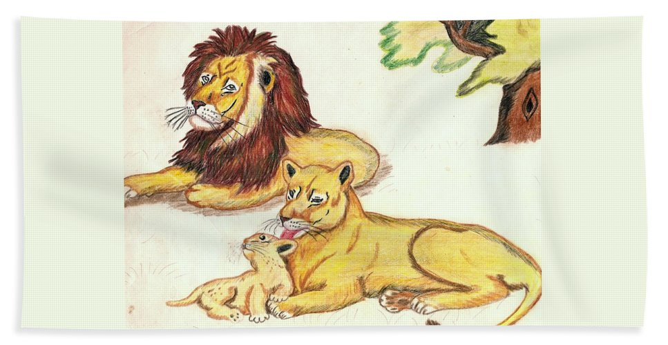 Lions Beach Towel featuring the drawing Lions Of The Tree by George I Perez