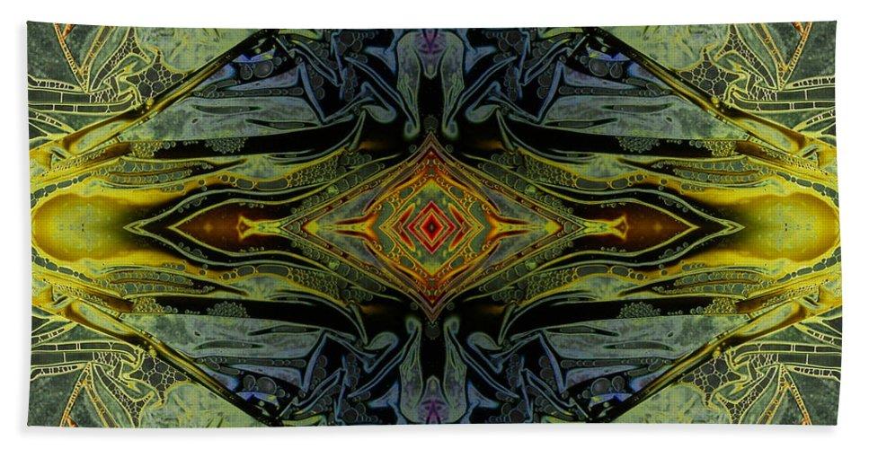 Digital Beach Towel featuring the digital art Liquid Decalcomania Mirror by Otto Rapp