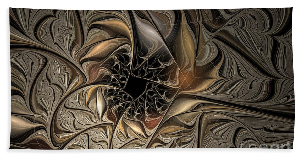Fractal Beach Towel featuring the digital art Liquid Silver by Deborah Benoit