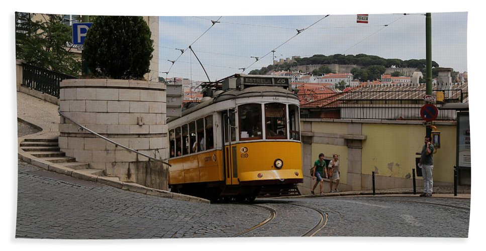 Trolley Beach Towel featuring the photograph Lisbon Trolley 10 by Andrew Fare