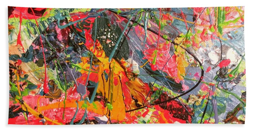 Contemporary Beach Towel featuring the painting Litheair by Bart Van Der Schueren