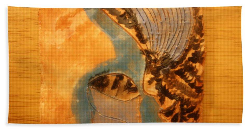 Jesus Beach Towel featuring the ceramic art Little Angel - Tile by Gloria Ssali