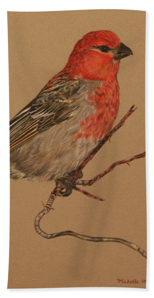 Bird Beach Towel featuring the drawing Little Bird by Michelle Miron-Rebbe