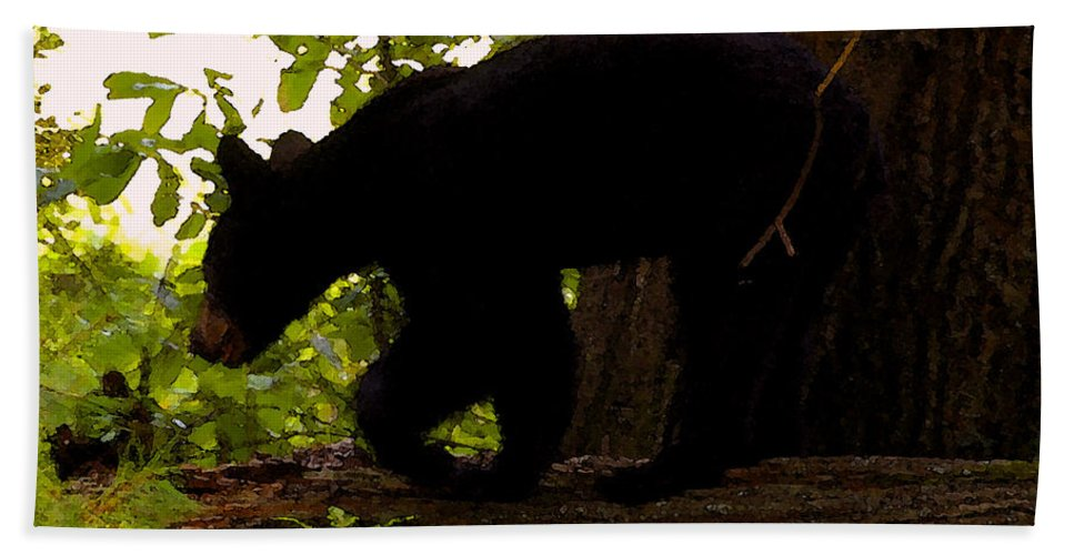 Black Bear Beach Towel featuring the painting Little Black Bear by David Lee Thompson