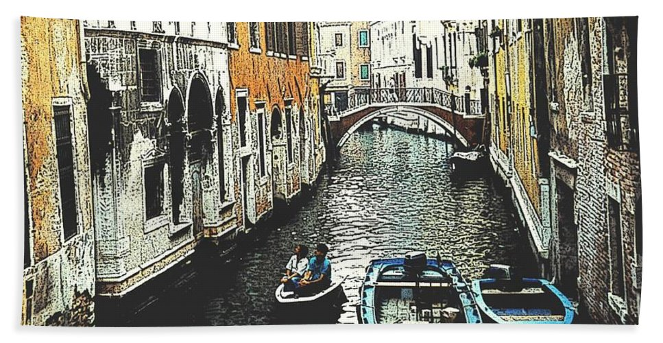 Venice Beach Towel featuring the photograph Little Boat In Venice by Ian MacDonald
