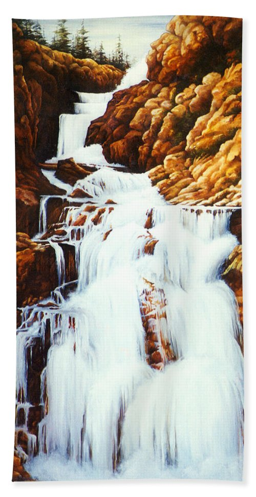 Waterfall Beach Towel featuring the painting Little Firehole Falls by Teri Rosario