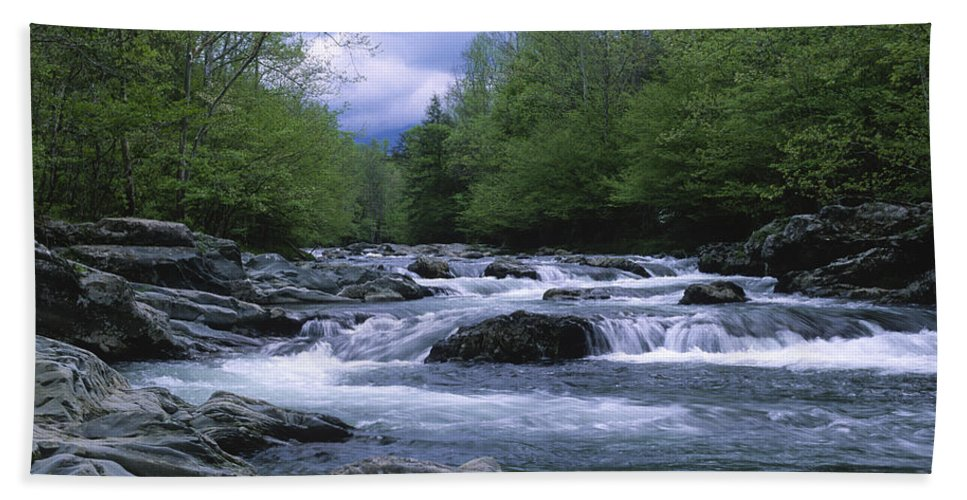 Great Smoky Mountains Beach Towel featuring the photograph Little Pigeon River by Sandra Bronstein