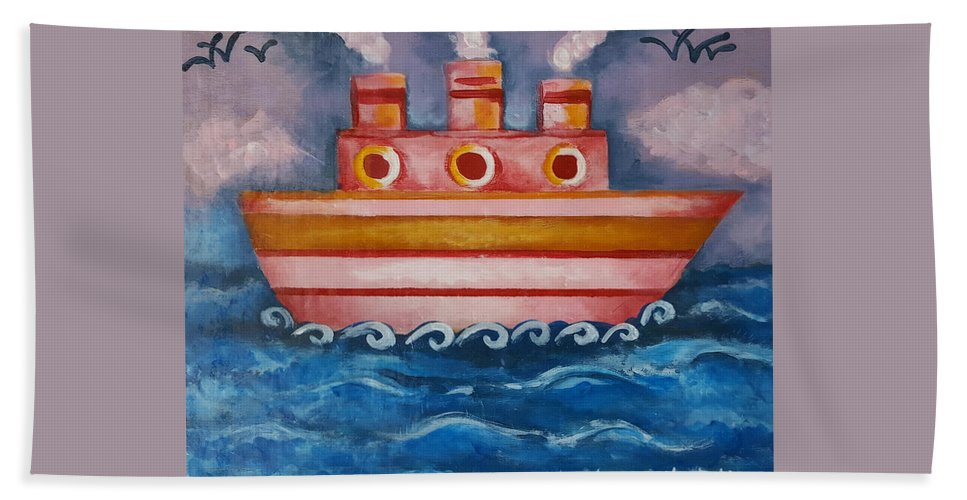 Ship Beach Towel featuring the painting Little Pink Ship by Rita Fetisov