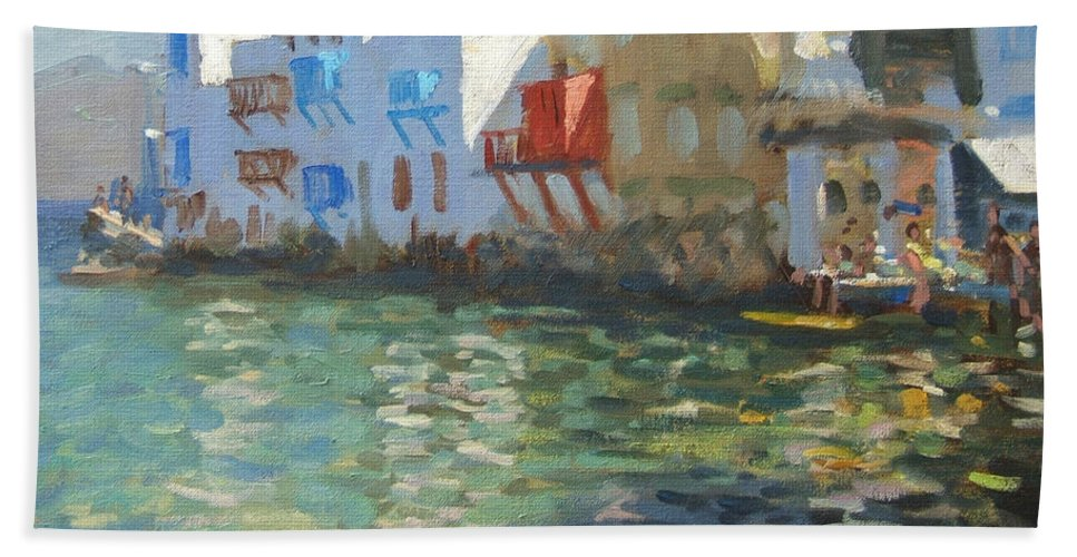 Greek Landscape Beach Towel featuring the painting Little Venice Mykonos by Andrew Macara
