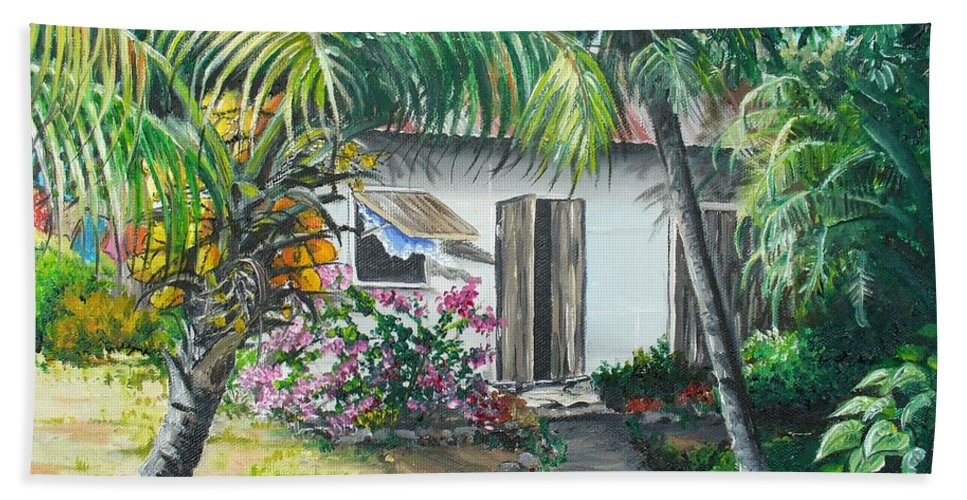 Caribbean Painting Typical Country House In Trinidad And The Islands With Coconut Tree Tropical Painting Beach Sheet featuring the painting Little West Indian House 2...sold by Karin Dawn Kelshall- Best