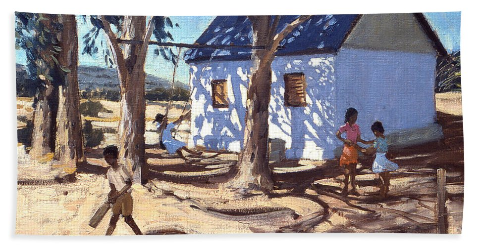 African Landscape Beach Towel featuring the painting Little White House Karoo South Africa by Andrew Macara