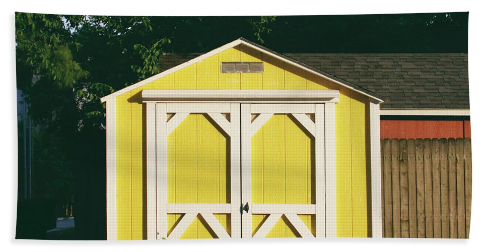 Barn Beach Towel featuring the photograph Little Yellow Barn- By Linda Woods by Linda Woods