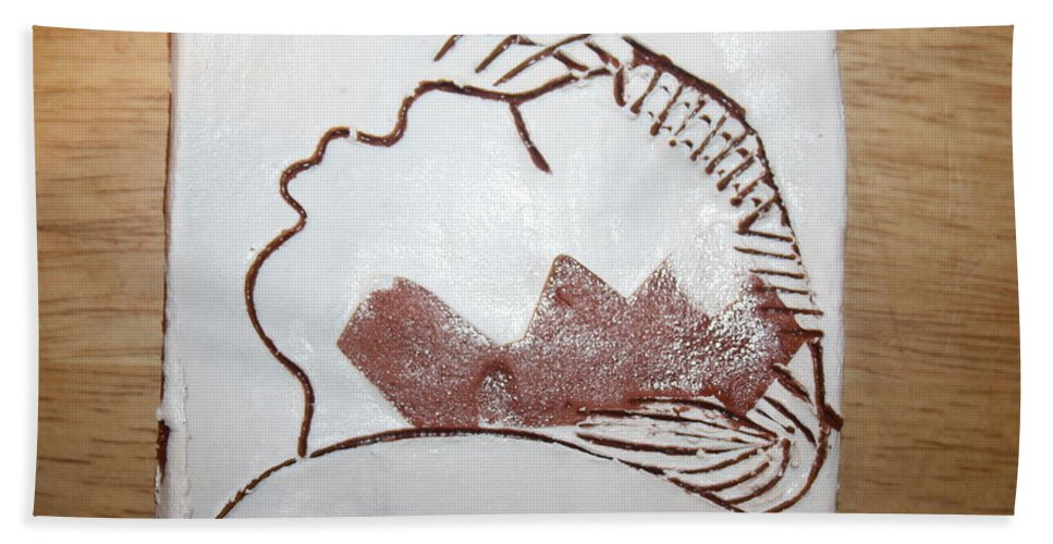 Jesus Beach Towel featuring the ceramic art Live For Today - Tile by Gloria Ssali