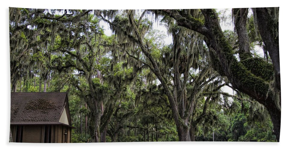 Live Oaks Beach Towel featuring the photograph Live Oak And Spanis Moss Landscape by Kathy Clark